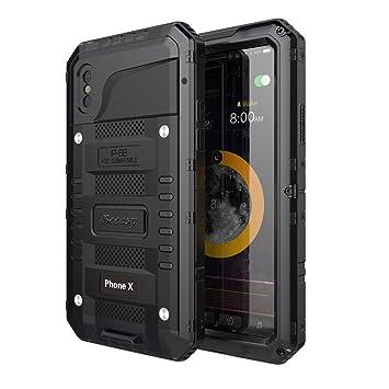 Beeasy Funda Antigolpes iPhone X,[Sumergible] Carcasa Impermeable 360 Protección Completa Resistente Reforzada Acuática Waterproof Metálica Grado ...