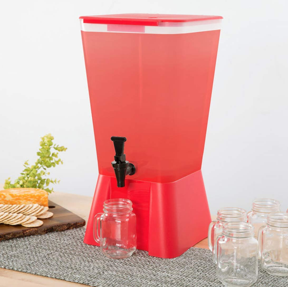 5 Gallon Red Square Plastic Beverage Dispenser Party Catering Wedding Event by Hedy4less