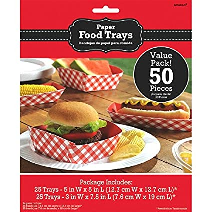 Delightful Picnic Party Red Plaid Food Trays Serveware, Paper, Pack of 50