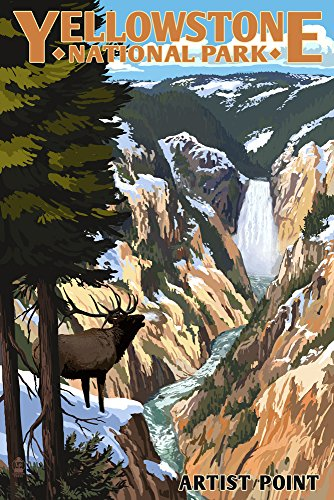 (Yellowstone National Park, Wyoming - Artist Point and Elk (12x18 Art Print, Wall Decor Travel)