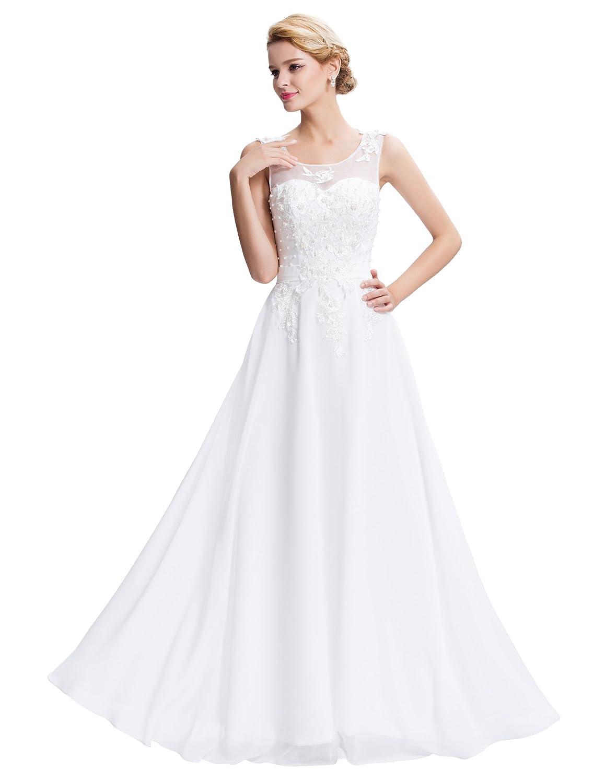 TALLA 50. GRACE KARIN Vestido Elegante para Boda Ceremonia De Vuelo Encaje Floral Precioso Maxi Blanco 50