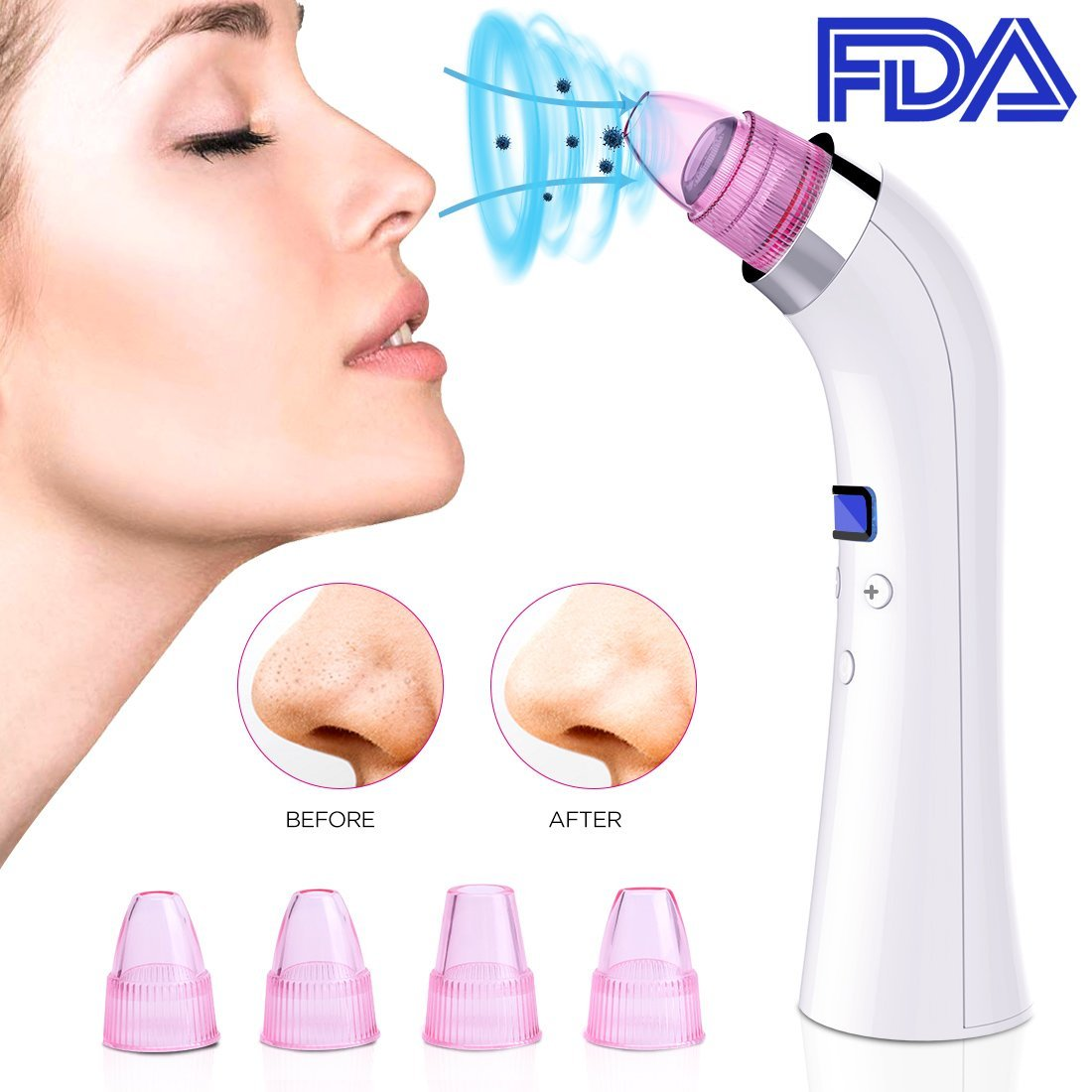 Blackhead Remover Pore Vacuum Machine Rechargeable Professional Portable Comedo Suction with LED Screen Removal Extractor Tool for Facial Skin Treatment(White) LunaLife