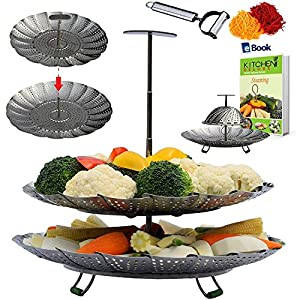 Premium Vegetable Steamer Basket by Kitchen Deluxe (SS Extendable Handle - 2-Tier)
