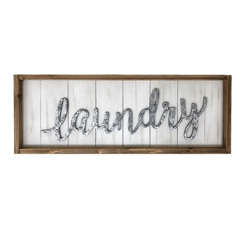 Paris Loft Rustic Laundry Wood Wall Sign Plaque, Laundry Room Decor Wall Hanging Sign Decor