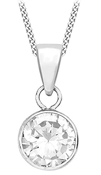 Carissima Gold Women's 9 ct White Gold Cubic Zirconia Pendant on Curb Chain Necklace cQ8OUgb6b