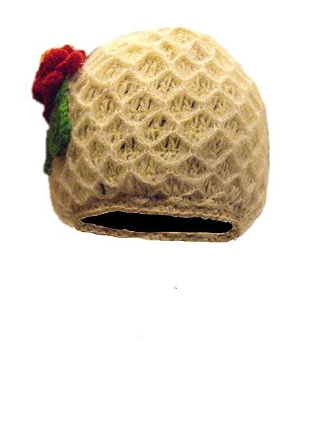 Pretty Crema Mujer Gorra, Boina con Flor Roja Crochet - tejido a ...