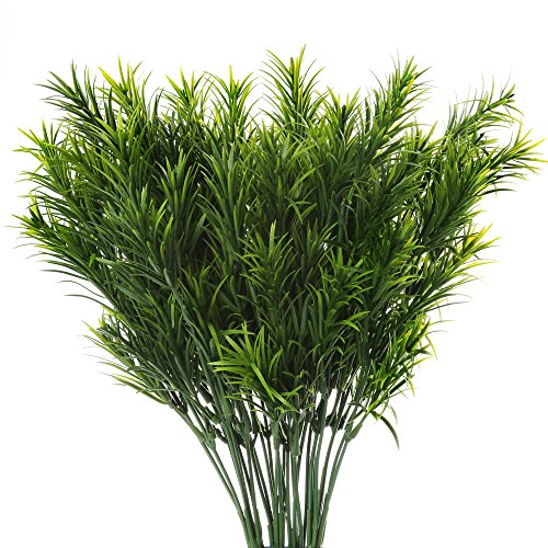 Senjie Aritificial Plants Fake Pine Leaves Bunches for Home Indoor Outdoor Greenery Decor 4pcs (Evergreen Branches)