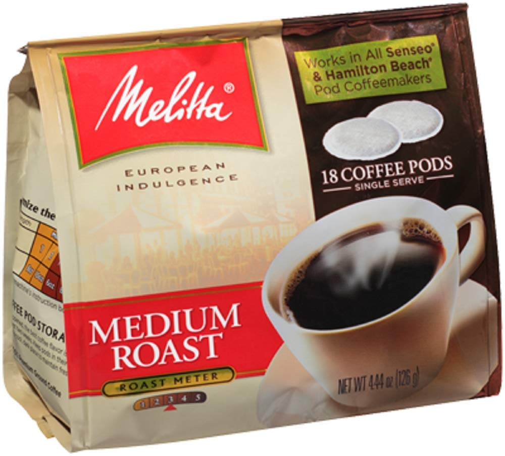 Melitta 75448 Medium Roast Soft Pod Pack 18 Count