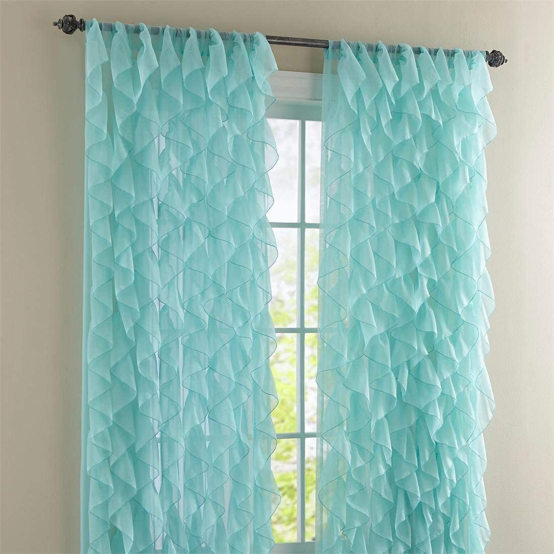 "Lorraine Home Fashions Cascade Sea 84"" Shabby Chic Sheer Ruffled Curtain Panel"