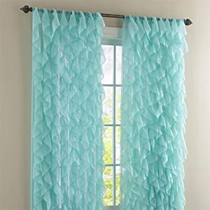"LORRAINE HOME FASHIONS Cascade Sea 63"" Shabby Chic Sheer Ruffled Curtain Panel"