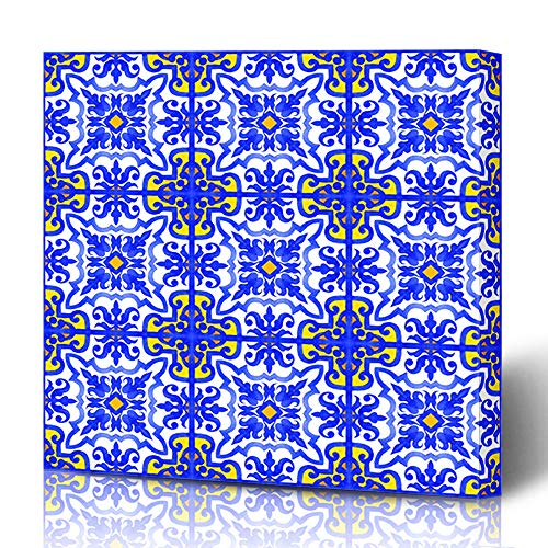 Ahawoso Canvas Prints Wall Art 12x12 Inches Terracotta Watercolor Adha Portuguese Azulejo Tiles Blue Moroccan White Gorgeous Geo Vintage Eid Andalusia Decor for Living Room Office Bedroom ()