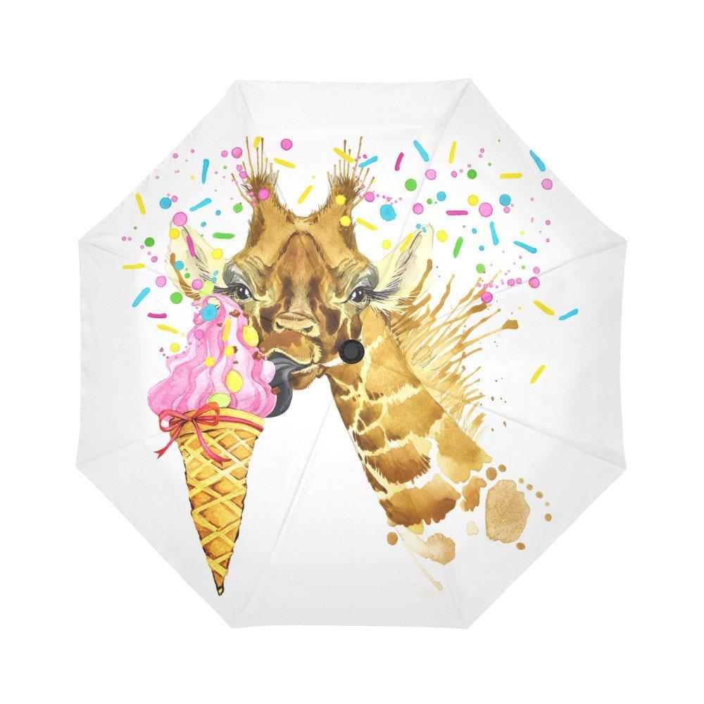 InterestPrint Giraffe Eating Ice Cream Windproof Automatic Open And Close Folding Umbrella,Watercolor Painting Travel Lightweight Outdoor Umbrella Rain And Sun