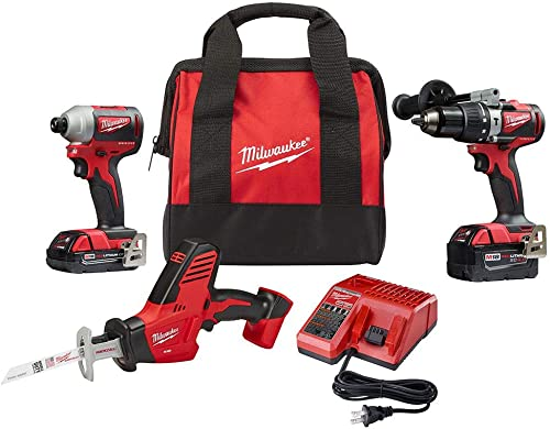 Milwaukee 2893-22CXP M18 18-Volt Lithium-Ion Brushless Cordless Hammer Drill Impact Hackzaw Combo Kit 3-Tool with 2 Batteries, Charger and Bag