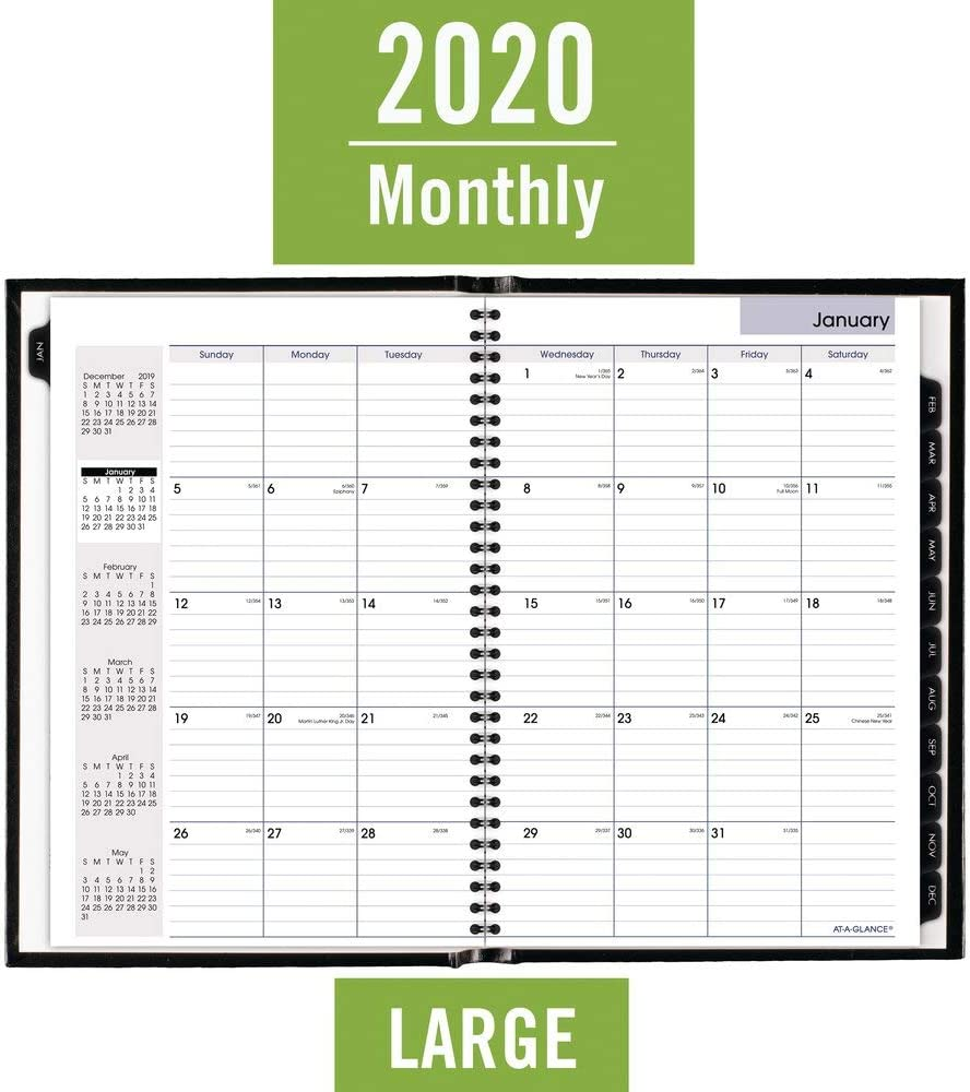 G470H00 Black DayMinder Premiere AT-A-GLANCE 2020 Monthly Planner Large 8 x 11-3//4 Hardcover