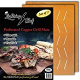 Lightning Chef Non-stick Grill Mat – NEW Perforated Copper Color Grilling Mats Best BBQ Grill Mat for Charcoal, Wood and Gas Grilling. Reusable Easy to Clean