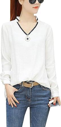 Camisa Larga para Mujer De Otoño V Corte Tops Larga Manga De Basicas Blusas Tops Camisas Camisa Elegante De Manga Larga para Suelto Casual Blusa: Amazon.es: Ropa y accesorios