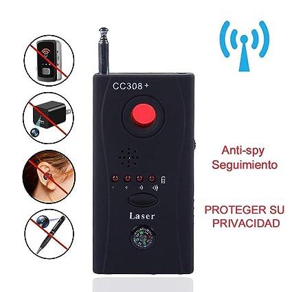 Glückluz Detector de Camaras y Microfonos Señal Inalámbrica Anti-Spy Bug RF Detector Cámara Oculta