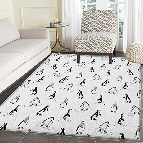 Kids Non Slip Rugs Skiing Penguins on Snowboards Winter Sports Themed Pattern Fun Animal Bird with Scarf Door Mats for inside Non Slip Backing 4'x5' Black White
