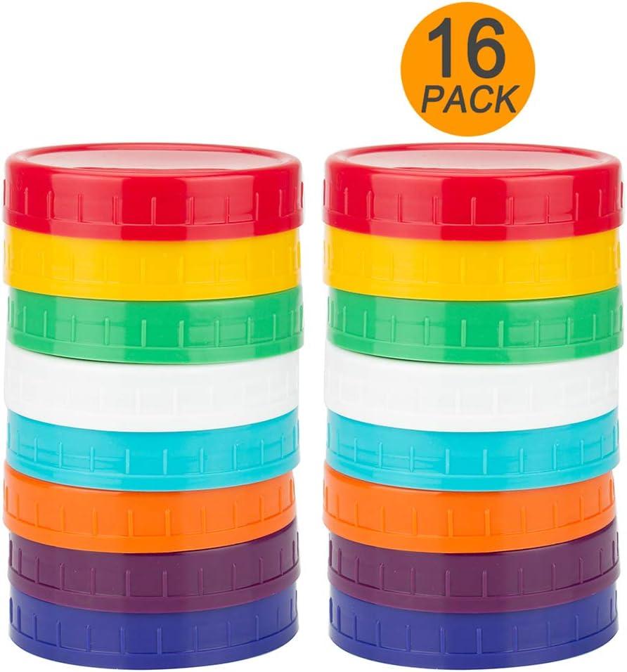 WISH Upgrated 16 Pack Plastic Mason Jar Lids - Colored Mason Jar Caps 100% Compatible with Ball Kerr Regular Mason Jars (16 Regular Mouth)
