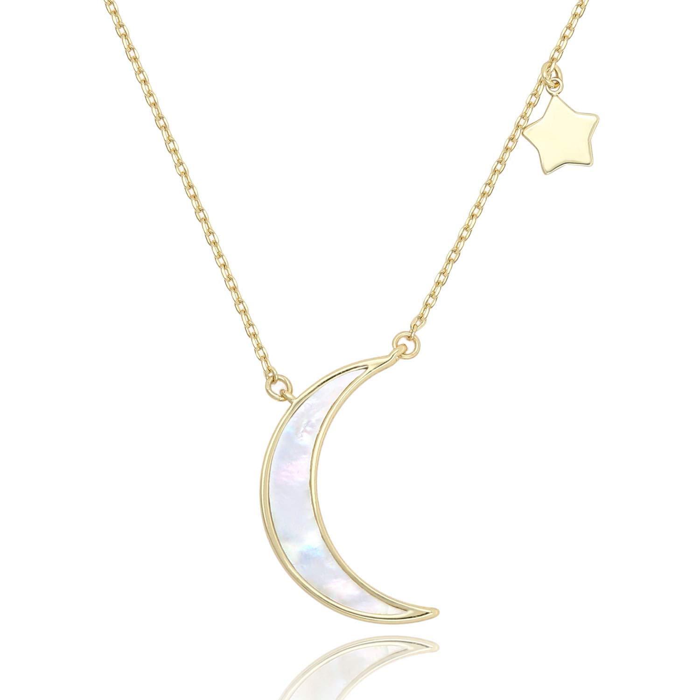 1624940e50369e Amazon.com: COZLANE Crescent Necklace Half Moon and Stars Pendant Natural  Shell Necklace Fashion Jewelry for Women Girls: Jewelry