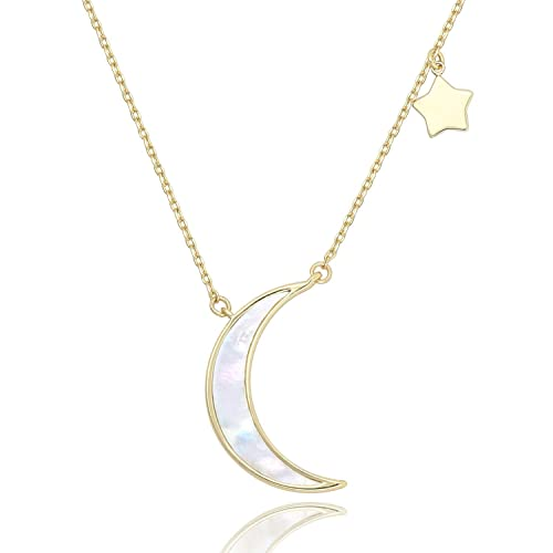 7af141a59 COZLANE Crescent Necklace Half Moon and Stars Pendant Natural Shell  Necklace Fashion Jewelry for Women Girls