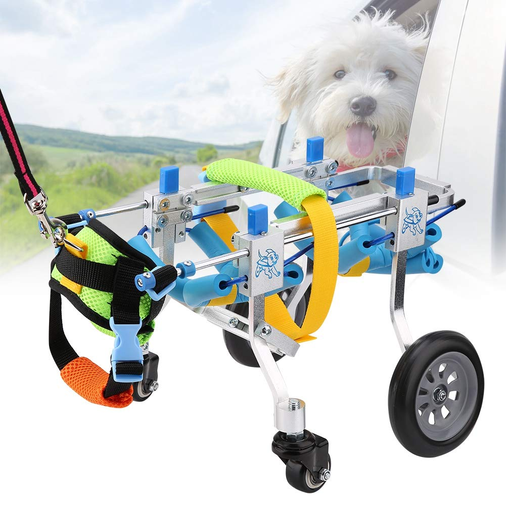 Zouminy Pet Wheelchair, Four Wheels Adjustable Dog Wheelchair Fore-Leg Rehabilitation Cart Paralyzed Pet Walk Assistant by Zouminy