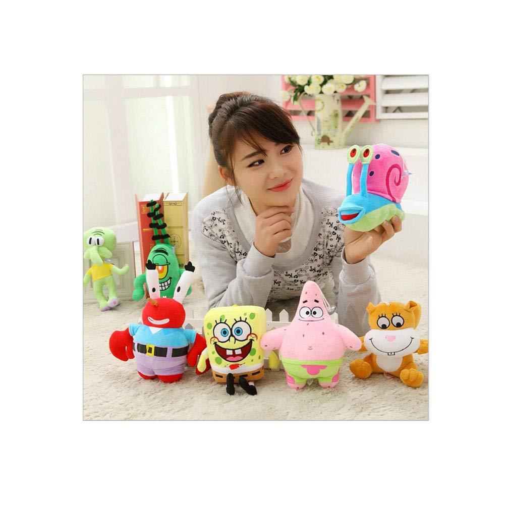 MFNXJ 7 Pcs/Set Super Cute Soft Plush Spongebob,Patrick Star,Squidward,Krab,Sheldon Plankton Gary Toys Gift for Kids by MFNXJ