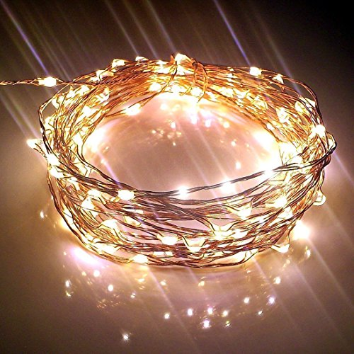Starry Lights 20Ft/120 LEDS Warm White Color. Amazingly Bright - Ultra-thin Flexible Easy to Wrap Copper Wire. Fairy Light Effect. Travel Plug by Qualizzi Star Lights