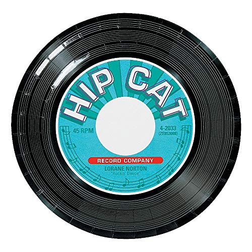 50's Party Supplies and Decorations - Record Themed Dessert Paper Plates (24 Count) ()