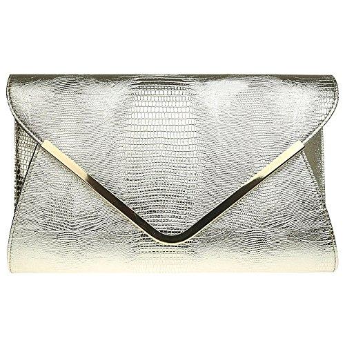 Wocharm Ladies Croc Black White Navy Blue Gold Grey Red Ivory Envelope Clutch Bag Womens Evening Party Handbag Gold
