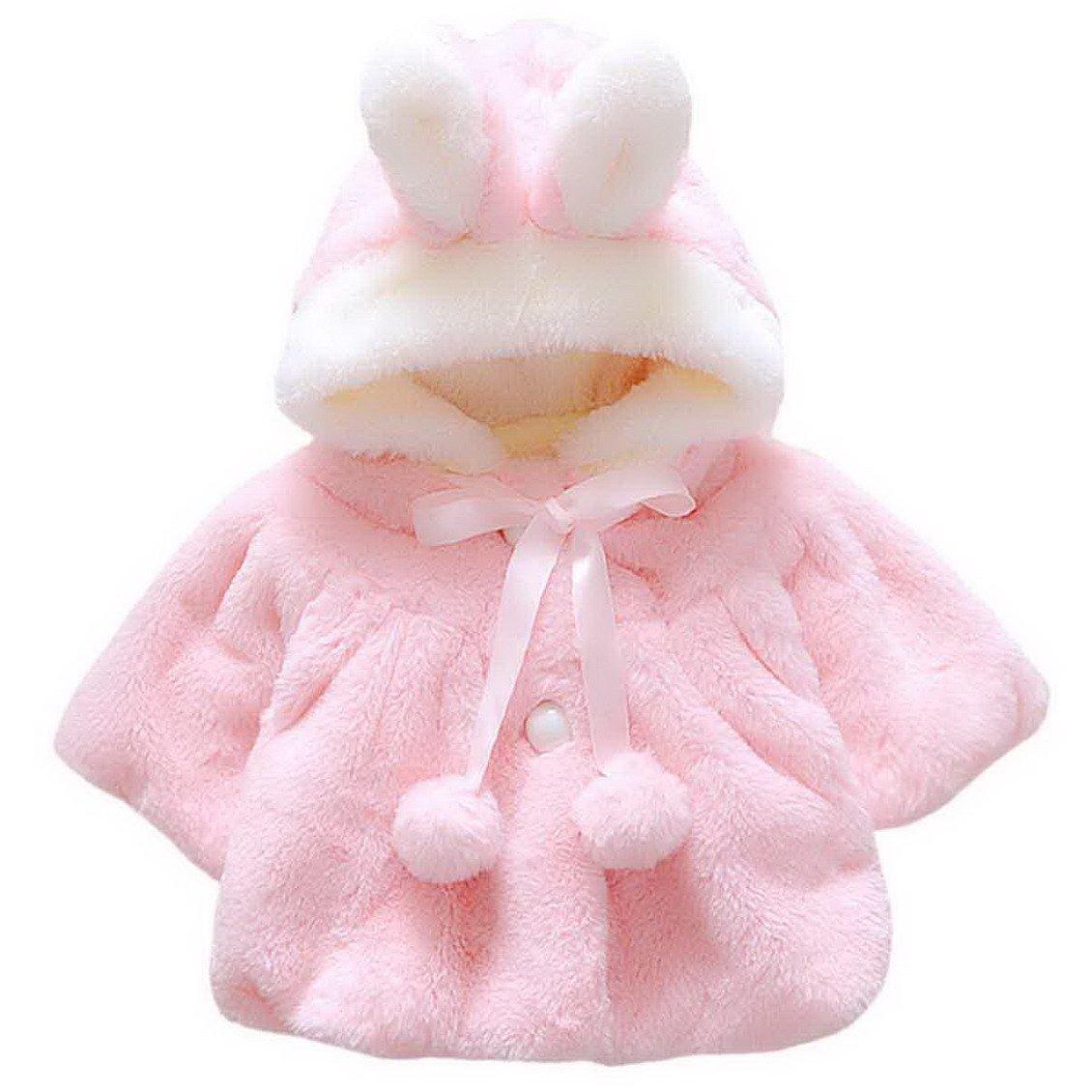 Happy Cherry Baby Girl Winter Fall Fur Warm Coat Cloak Jacket Rabbit Ear Hoodies