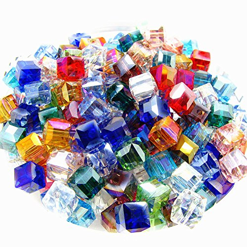 (8mm Multicolor Crystal Beads Square Glaze Glass Bead Quartz Loose Beads for DIY Jewelry Making Accessory 100pcs)
