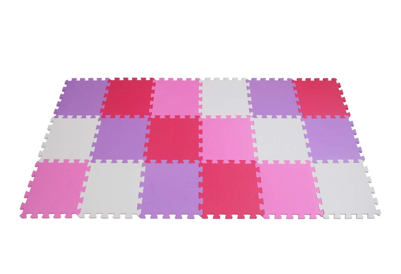 30*30*1cm qqpp Eva Puzzlematte✔Kinderspielteppich✔Schaumstoffmatte✔Spielmatte Baby✔Spielteppich✔18 TLG. ,Wei/ß,Pink,Rot.QQC-ACIb18N