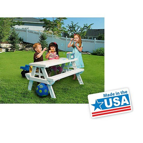 White foldable Children s Picnic Table 600 lbs plastic compact durable
