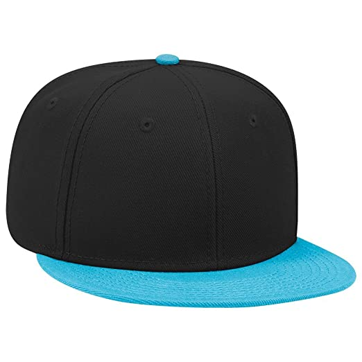 2218b4576 OTTO SNAP Wool Blend Twill Round Flat Visor 6 Panel Pro Style Snapback Hat  - Aqua