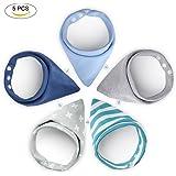 YISSVIC 5er Baby Dreieckstuch Lätzchen Spucktuch doppellagig saugfähig Baumwolle Halstücher Mit Druckknöpfen für Babys Kleinkinder