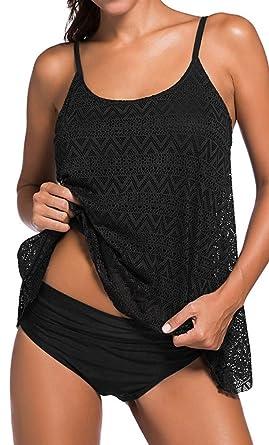 Femme Tankini Maillots De Bain Bikini Set 2 Pièces Beachwear Taille Grande Noir 3XL Prix Incroyable Rabais Sortie Acheter Obtenir bdRpsfKS