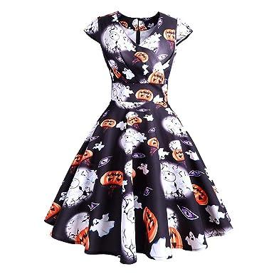 brand new 70382 0446f ReooLy Abito da Donna Halloween Retro Senza Maniche Zucca ...