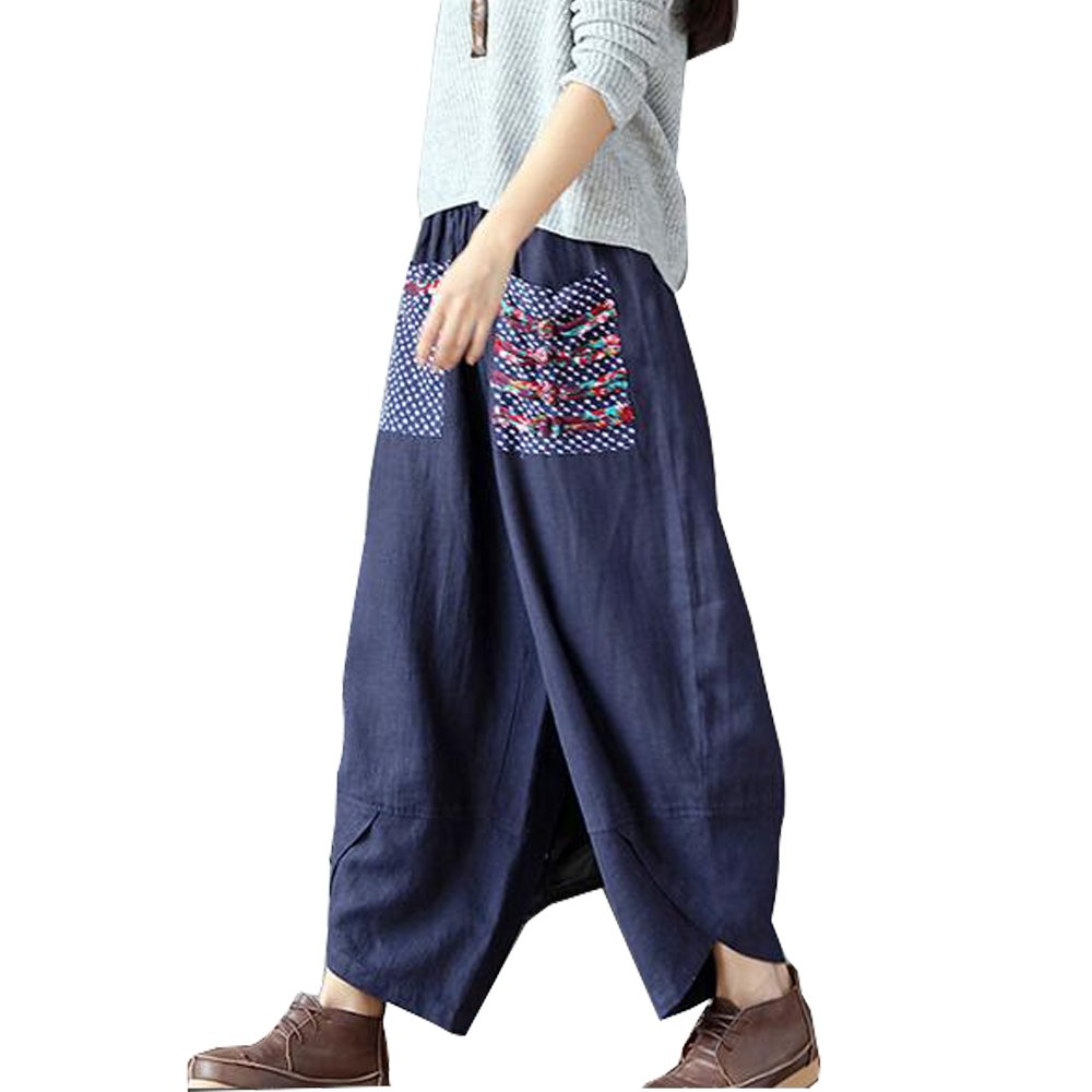 Baggy Loose Elastic Waist Harem Wide Leg Haren Patchwork Cotton Linen Oversize Casual Trousers with Pockets for Women Purple) WP-21
