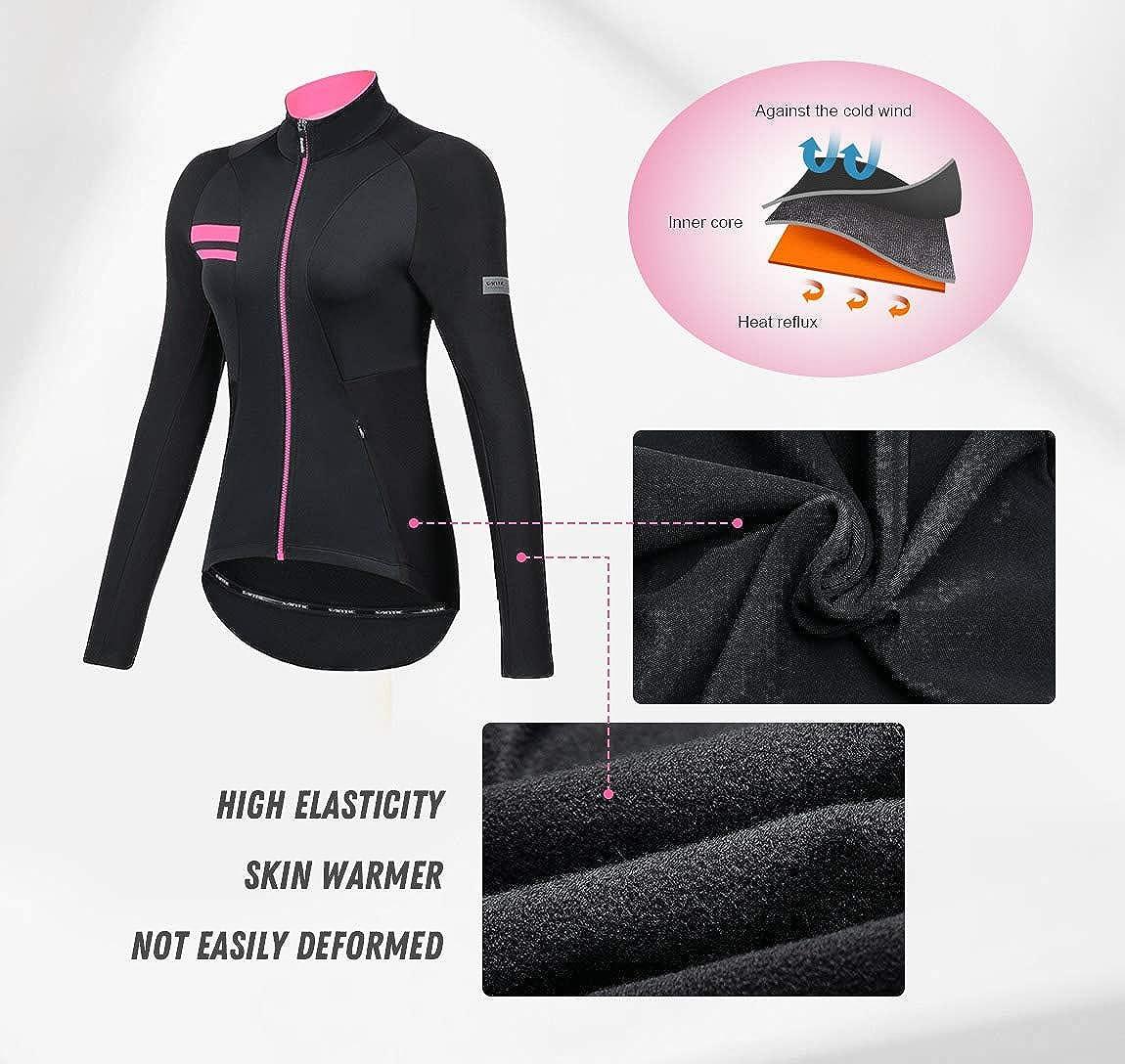 Santic Women Bike Fleece Coat Windproof Reflective Thermal Soft Shell Cycling Winter Biking Jacket : Clothing