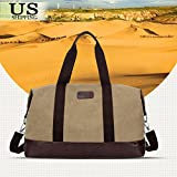 Khaki Bag Vintage Men Leather Canvas Luggage Weekend Travel Duffle Retro Lightweight Gym Bags Overnight Shoulder Bags