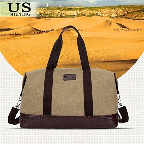 Neiman Marcus Nylon Tote (Khaki Bag Vintage Men Leather Canvas Luggage Weekend Travel Duffle Retro Lightweight Gym Bags Overnight Shoulder Bags)