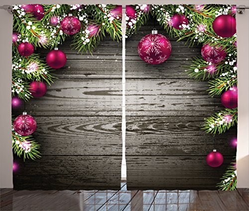 Ambesonne Christmas Curtains, Old Fashioned Concept with Twigs and Balls on Rustic Wood Vintage Design Print, Living Room Bedroom Window Drapes 2 Panel Set, 108