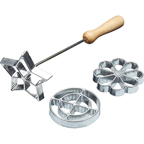 Kitchen Craft Swedish Rosette Waffle Iron/Cookie Mould Set, Aluminium Silver, 4 Pieces by Kitchen Craft
