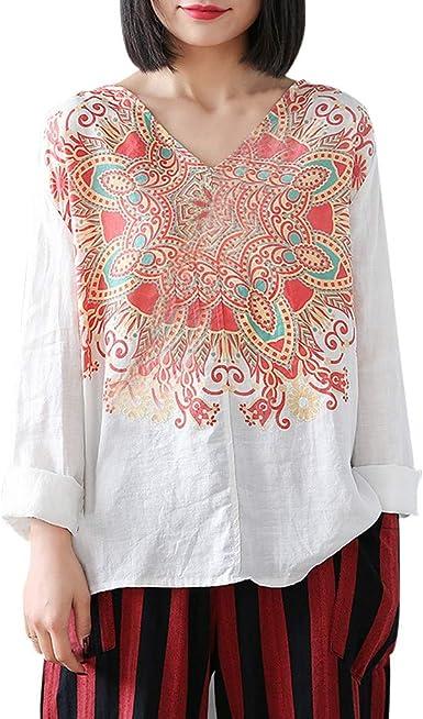 Reooly Camisa de Lunares con Cuello en V Casual de Moda para Mujer Burbuja de Manga Larga: Amazon.es: Ropa y accesorios