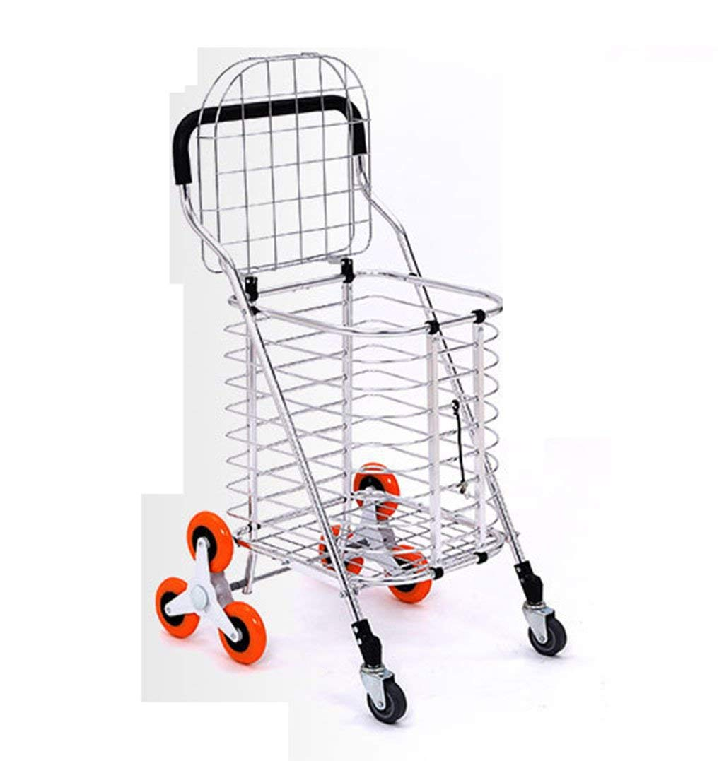 Portable Trolley, Metal Cart Shopping Trolley 3 Wheels Shopping Cart Large Shopping Bags Luggage Carts Can Climb Stairs Huge Capacity Metal Cover Baby Carriage Mobile Shopping Cart Baby Carriage by Zehaer (Image #1)