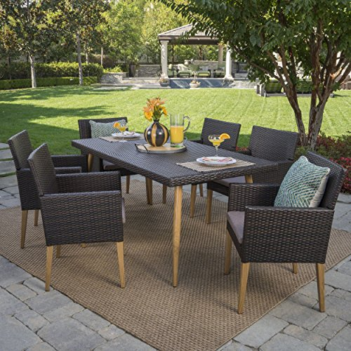 Great Deal Furniture Dryse | 7 Piece Outdoor Wicker Rectangular Dining Set with Light Brown Wood Finished Legs and Mocha Cushions | in Multibrown
