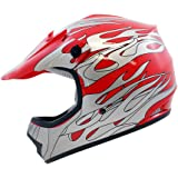 TMS Youth Kids Red Flame ATV Motocross Dirt Bike Off-Road MX Gear Helmet DOT (Large)
