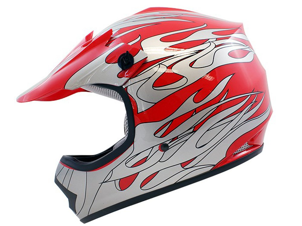 Tms Youth Kids Red Flame Atv Motocross Dirt Bike Off