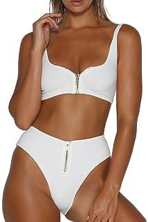 626a1f4def9 QINSEN Womens Tie Knot Front High Waist Thong Bandage 2PCS Bikini Sets  Beachwear sun49 Fashion Hoodies ...